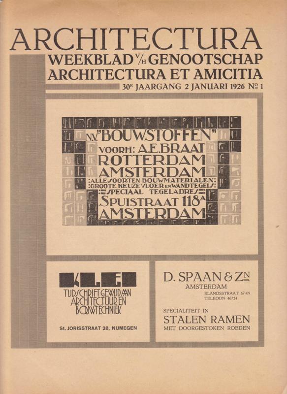N/A. - Architectura. Weekblad v/h Genootschap Architectura et Amicitia. 1926, no 1.