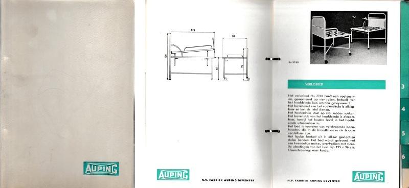 AUPING. - N.V. eerste Nederlandsche Fabriek van Stalen Gezondheidsmatrassen. Catalogus ten behoeve van ziekenhuizen en inrichtingen.