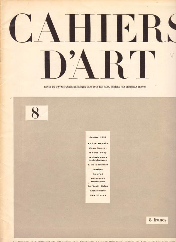 N/A. - Cahiers D'Art. 1926,Nr.8.